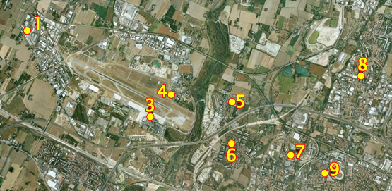 Location of noise monitoring terminals: air view.