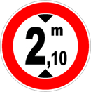 Maximum height limit allowed: 2,10 meters